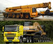 Аренда автокранов от 40 до 400 тонн,  перевозка негабаритов на тралах.